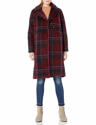 Rachel Roy Women's Plus Size Plaid Notch Collar Wool Coat