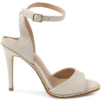 BCBGeneration Jaxina Studded Ankle-Strap Peep-Toe Leather Sandals