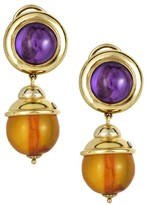 Stephen Dweck 18K Yellow Gold Amethyst & Garnet Earrings
