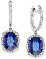 Effy Velvet Bleu by Manufactured Diffused Sapphire (3-3/4 ct. t.w.) and Diamond (1/3 ct. t.w.) Oval Earrings in 14k White Gold