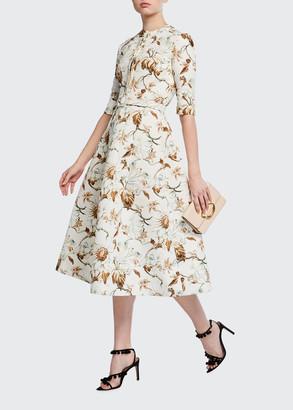 Oscar de la Renta Floral-Print 1/2-Sleeve Day Dress