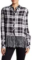 Romeo & Juliet Couture Long Sleeve Plaid Fringe Shirt