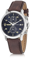 Epoca Maserati Chronograph Navy Blue Dial and Brown Leather Strap Men's Watch