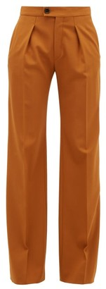 Chloé High-rise Wide-leg Wool-blend Trousers - Camel