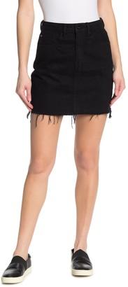 Tractr Lisa Raw Hem Denim Mini Skirt