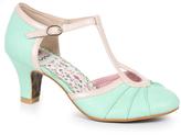 Bettie Page Mint & Metallic Leatherette Keyhole Eris T-Strap Heels Shoes