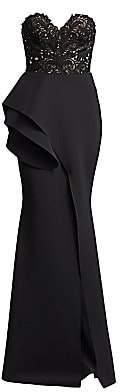 Badgley Mischka Women's Strapless Ruffled Lace Mermaid Gown