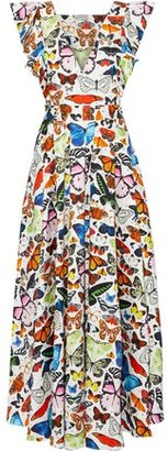 Mary Katrantzou Noor Ruffle-trimmed Printed Stretch-cotton Poplin Maxi Dress