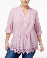 Style&Co. Style & Co Plus Size Cotton Eyelet-Hem Top, Only at Macy's