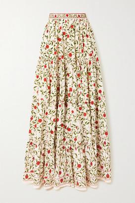Agua Bendita Macadamia Bead-embellished Embroidered Floral-print Cotton-poplin Maxi Skirt - White