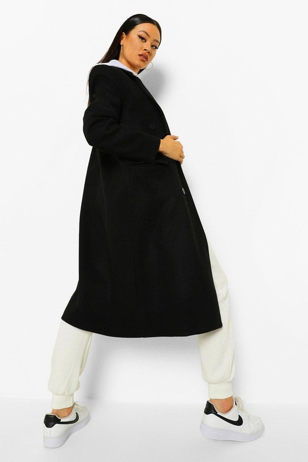 Thumbnail for your product : boohoo Shoulder Pad Longline Wool Look Coat