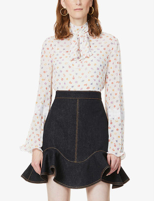 See by Chloe Floral-pattern bow-embellished chiffon blouse
