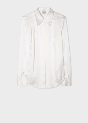 Paul Smith Women's Ivory Satin Silk Pintuck Shirt