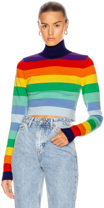 Paco Rabanne Striped Turtleneck Sweater in Rainbow Stripes | FWRD