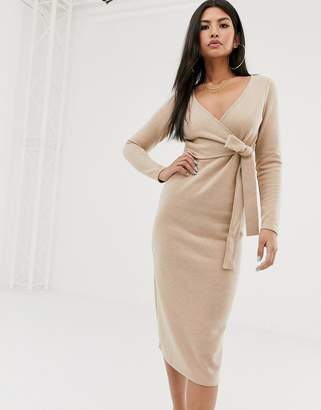 Asos Design DESIGN super soft wrap front midi dress in camel-Beige