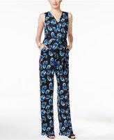 NY Collection Petite Floral-Print Wide-Leg Jumpsuit