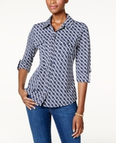 Charter Club Petite Printed Utility Shirt, Created for Macy's