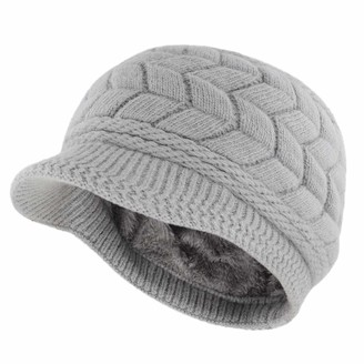 Gisdanchz Knit Hat with Visor Ski Hat Women Women Knit Cool Soft Snow Beanie Visor Wool Hats for Winter Cap Ski Newsboy Snow Ladies Fashion Plain Hats Cable Warm Hat with Brim Knitted Hats Gray