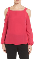 Tahari Lindy Cold Shoulder Silk Blouse