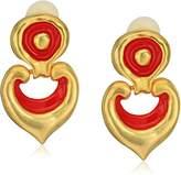 Kenneth Jay Lane Satin Gold Red Enamel Earrings