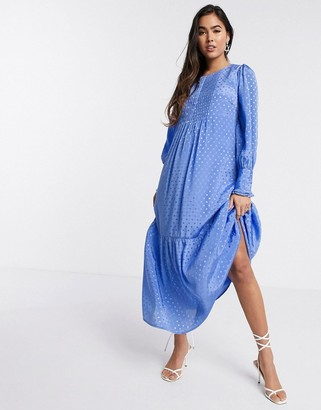 Y.A.S maxi smock dress with front pleats in blue spot