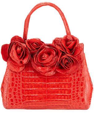 Nancy Gonzalez Rose Daisy Crocodile Satchel Bag