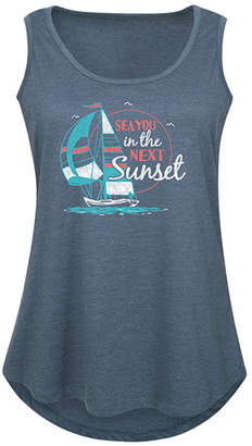Instant Message Plus Women's Tank Tops HEATHER - Heather Blue 'Sea You in the Next Sunset' Tank - Plus