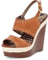 Jessica Simpson tan leather sandal wedges