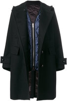 Sacai double breasted coat - women - Polyester/Cupro/Wool - 3