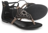 Bamboo Embroidered T-Strap Flatbed Sandals (For Women)