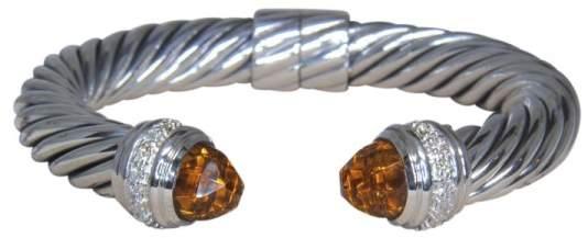 David Yurman 925 Sterling Silver Classic .64ct Diamond Citrine Bracelet