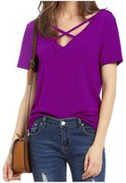 CutyKids Women's Sexy Cross Front Deep V Open Back Blouse Shirts Tops M
