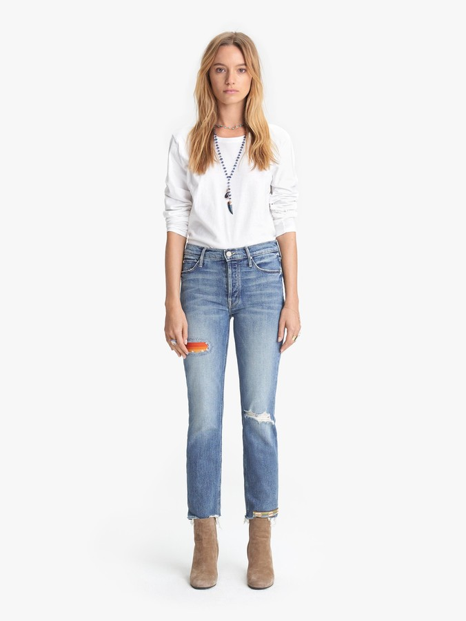 Mother Mid Rise Button Fly Dazzler Ankle Fray - Exposed Secret Sister