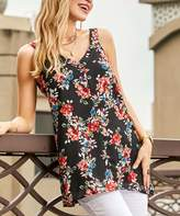 Suzanne Betro Women's Tank Tops 102BLACK - Black & Pink Floral V-Neck Top - Women