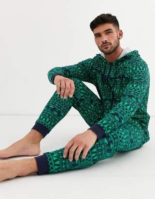 Asos Design DESIGN Holidays hooded lounge onesie with alien fairisle-Navy