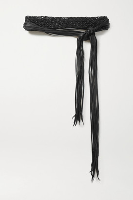 CARAVANA Net Sustain Venus Fringed Woven Leather Waist Belt - Black
