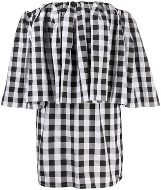 Marques Almeida Off-Shoulder Check Print Mini Dress