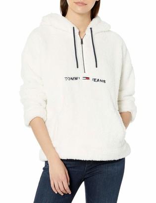 Tommy Hilfiger Women's Half Zip Fleece Hooded Jacket