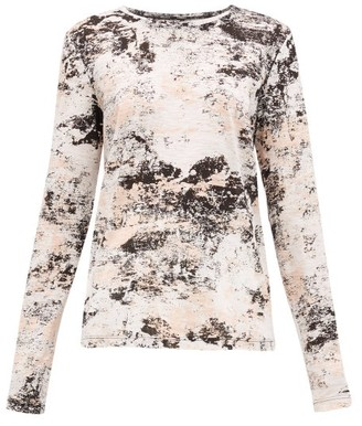 Proenza Schouler Foil-print Cotton Long-sleeved T-shirt - Womens - Pink Print