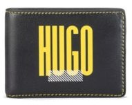 Logo-print billfold wallet in full-grain leather