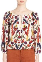 Alice + Olivia Naya Embroidered Peasant Blouse