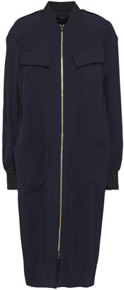 Roland Mouret Cutout Mesh-paneled Draped Pique Coat