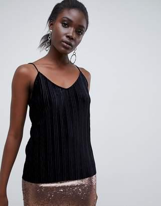 Vero Moda Velvet Pleated Cami-Black