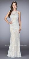 La Femme Plunging V-Back Fitted Lace Evening Dress
