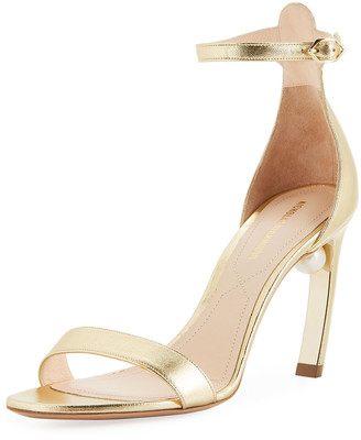 Nicholas Kirkwood Mira Pearl Metallic Leather Ankle-Strap Sandals