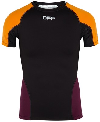 Off-White Black panelled stretch-jersey top