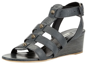 Balenciaga Studded Demi-Wedge Sandal, Dark Gray