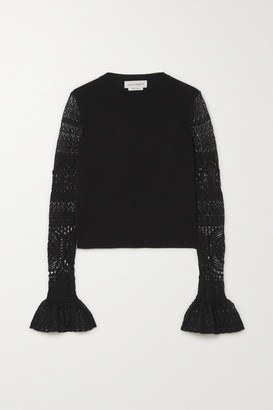 Alexander McQueen Ruffled Crochet-knit And Wool Sweater - Black