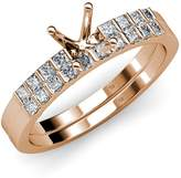 TriJewels Diamond Princess Cut Bridal Set With Semi Mount Ring & Wedding Band 0.55 ct tw 14K Rose Gold.size 7.0