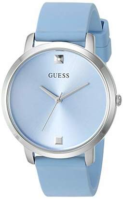 GUESS Comfortable Silver-Tone + Sky Blue Stain Resistant Silicone Watch with Genuine Diamond Accents. Color: Sky Blue (Model: U1210L4)